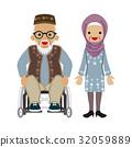 有輪椅和眼鏡的資深夫婦回教人 32059889