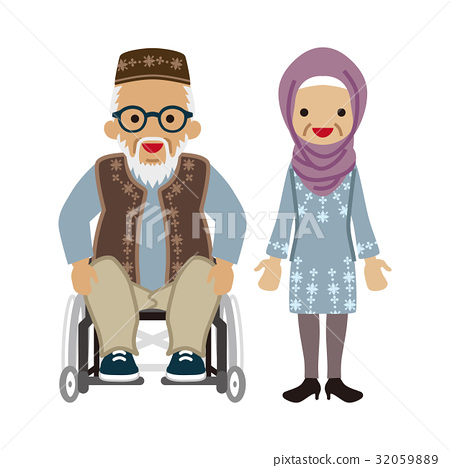 Senior couple Muslim man with wheelchair and glasses 32059889