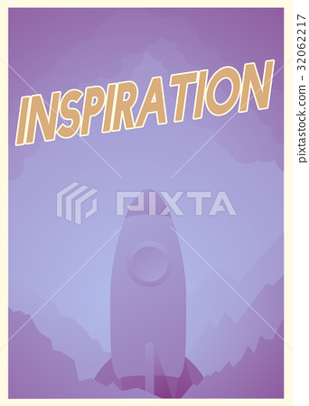 Word about inspiration and good attitude with rocket graphic 32062217