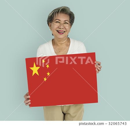 Woman Hands Hold China Flag Patriotism 32065743