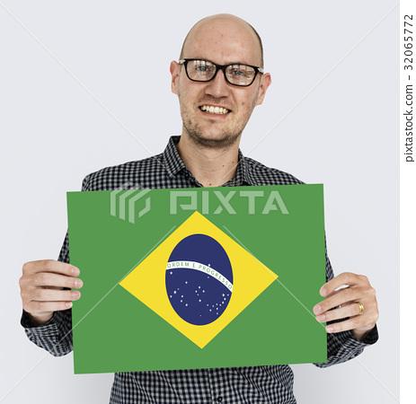Man Hands Hold Brazil Flag Patriotism 32065772