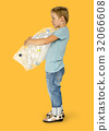 Ecology little boy holding bag of plastic bottle for recycle 32066608