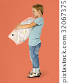 Ecology little boy holding bag of plastic bottle for recycle 32067375