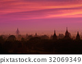 Twilight sky in thousand pagodas of Bagan,Myanmar. 32069349