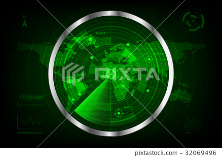 digital green radar with targets and world map 32069496