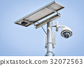 CCTV camera security with Solar panel in the city 32072563