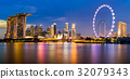 Singapore Skyline and view of Marina Bay at Dusk 32079343
