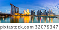 Singapore Skyline and view of Marina Bay at Dusk 32079347