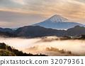 富士山 山峰 日出 32079361