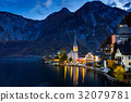 Hallstatt city at colorful twilight time , Austria 32079781