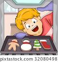 Kid Boy Baking Christmas Cookies 32080498