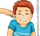 Kid Boy Pinch Ear Wince 32080514