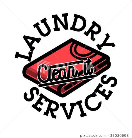 Color vintage laundry services emblem 32080698