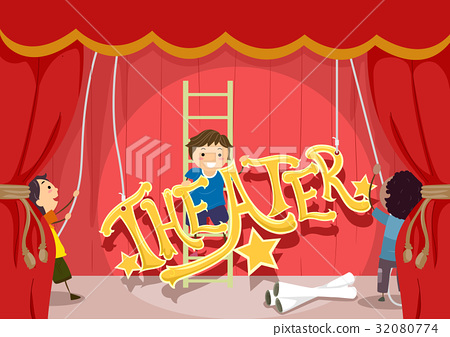 Stickman Kids Theater Setup Stage Lettering 32080774