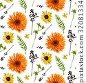 Vector seamless pattern orange gerbera flowers 32081334