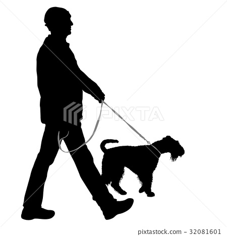 Silhouette of man and dog on a white background 32081601