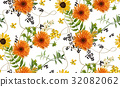 Vector seamless pattern autumn orange flower 32082062