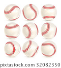 Baseball Leather Ball Close-up Set Isolated On 32082350