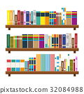 Library book shelf. Bookcase with different books. 32084988