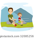 Father And Son Fishing 32085256