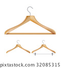 Wooden Clothes Hangers Vector. Set For Jackets 32085315