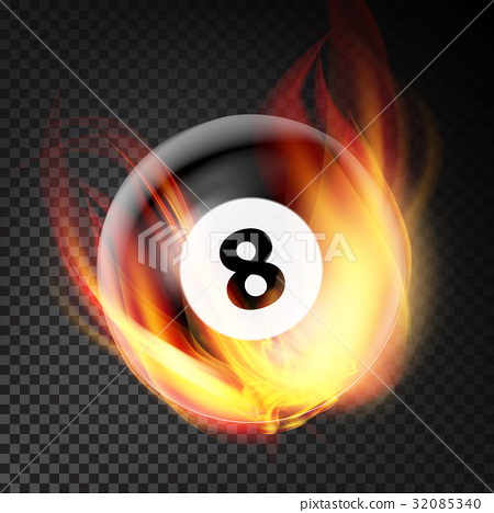 Billiard Ball In Fire Vector Realistic. Burning 32085340