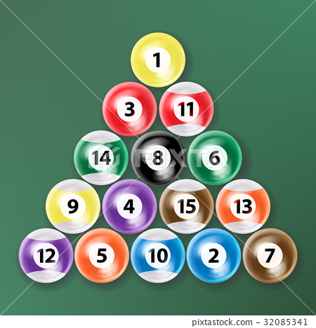 Billiard Ball Set Vector Realistic. Isolated 32085341