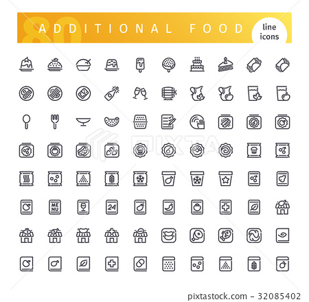 Additional Food Line Icons Set 32085402