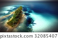 Small tropical island in Maldives atoll from 32085407