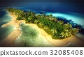 Small tropical island in Maldives atoll from 32085408