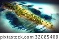 Small tropical island in Maldives atoll from 32085409