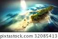 Small tropical island in Maldives atoll from 32085413