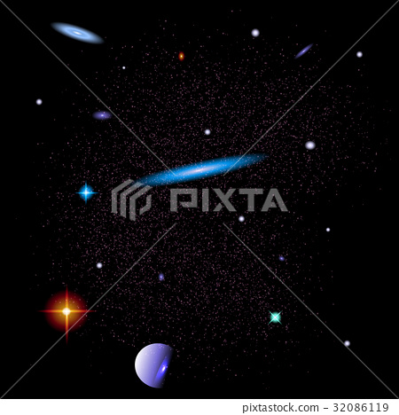 Abstract Space background with galaxies, stars and 32086119