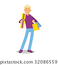 Young smiling blonde man in purple pullover 32086559