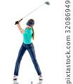 高尔夫球手 抠图 白底 32086949