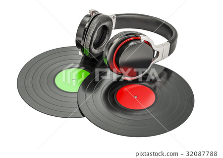 Headphones with vinyl records, 3D rendering 32087788