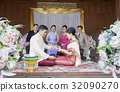 Parents are looking their daughter giving wedding ring to her husband 32090270