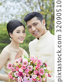 The portrait of a Thai couple smiling happily 32090510