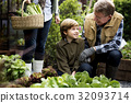 Group of people gardening backyard together 32093714