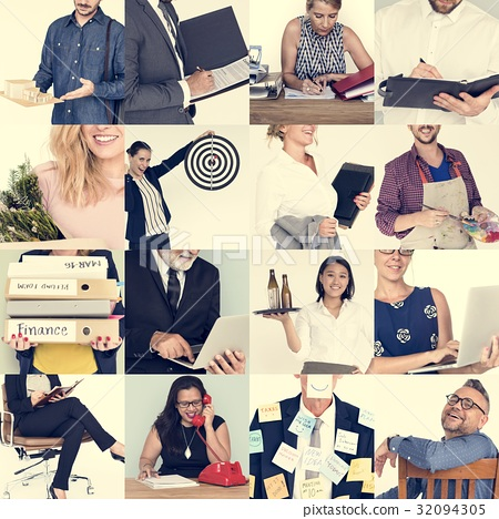 People Set of Diversity Business People Studio Portrait 32094305