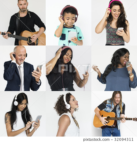 Set of Diversity People Get in Tune Music Collage 32094311