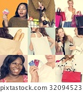 Set of Diverse Women Enjoying Sale Buy Shopping Studio Collage 32094523