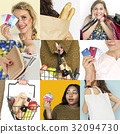 Set of Diverse Women Enjoying Sale Buy Shopping Studio Collage 32094730