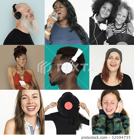 People Set of Diversity People Listening Music Studio Collage 32094735
