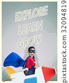 Superhero kid boy with paper plane toy and aspiration word graphic 32094819