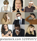 Set of Diversity People with Health Sickness Studio Collage 32095072