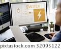 Illustration of energy saving sustainability power generation on computer 32095122