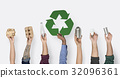Hand Hold Show Recyclable Things with Symbol 32096361