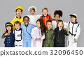 Group of Diverse Kids Wearing Career Costume Studio Portrait 32096450