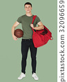 Young adult muscular man holding basketball 32096659